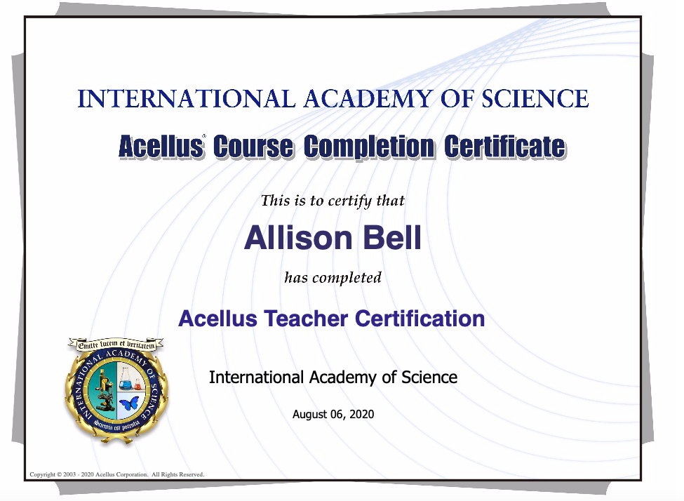Allison Bell's Distance Learning Certification