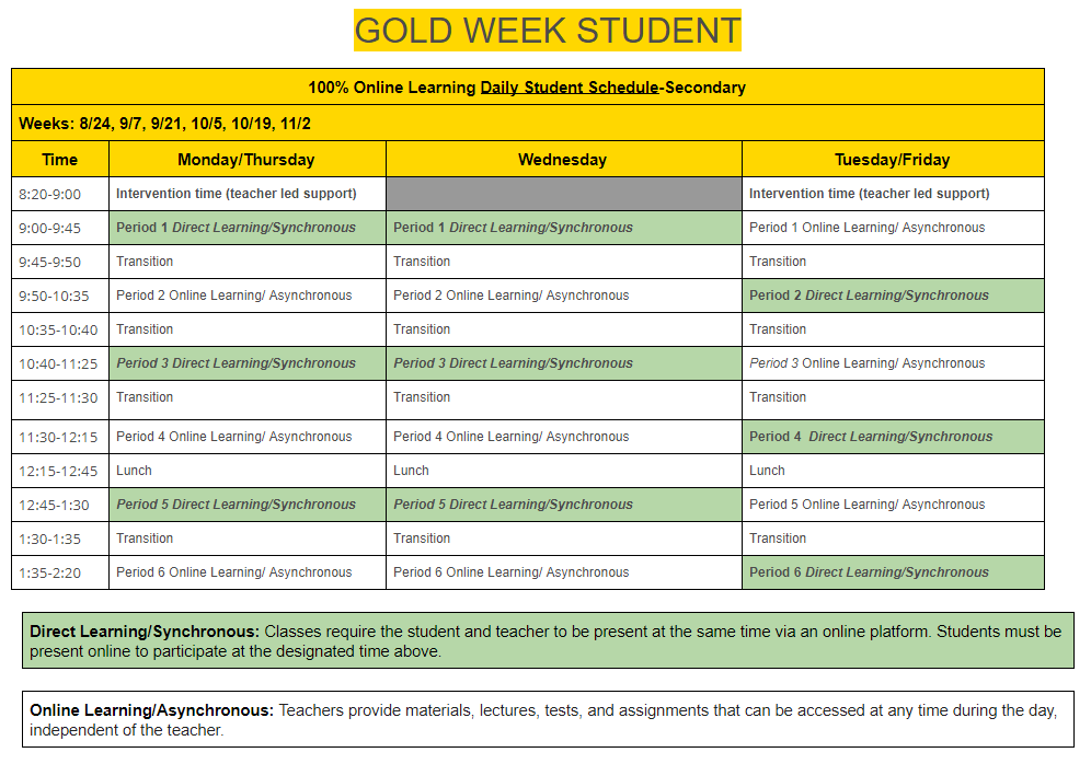 Gold Week student