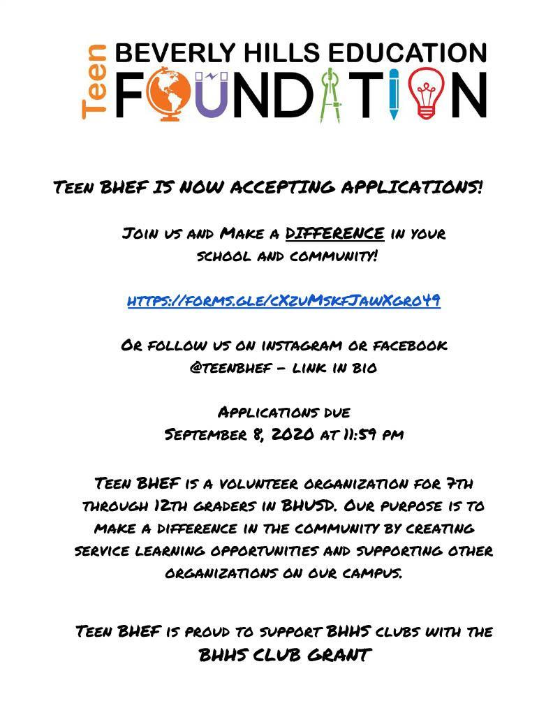 Teen BHEF Flyer for 2020-2021 Applications