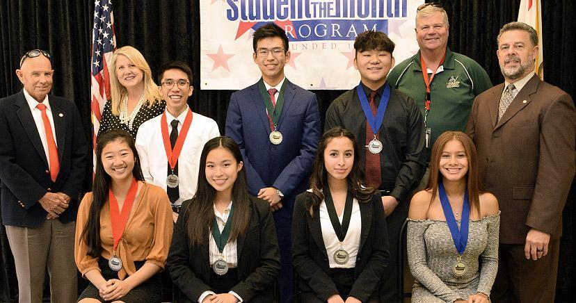 STUDENT OF THE MONTH: L-R front: Amy Tran—EHS; Hillary Tran—LHS; Miranda Iniguez—OHS; Arianna Abdul—TCHS; Back: Mayor Larry Greene,City of Canyon Lake; Heidi Matthies Dodd, LEUSD Board Clerk; Brandon Fuentes—EHS; Chonghao Guo—LHS; Victor Li—TCHS; Superintendent Doug Kimberly, LEUSD; Kim Joseph Cousins, LEVCC President/CEO.