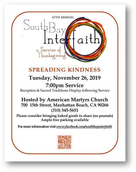 Join us for the South Bay Interfaith Thanksgiving Service Image