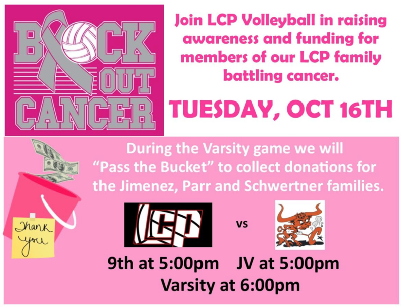 Lady Pirate Volleyball Block Out Cancer Game Tuesday, October 16 Thumbnail Image