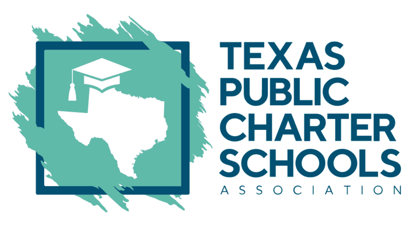A white image of the state of Texas wearing a graduation hat behind a teal square next to the words