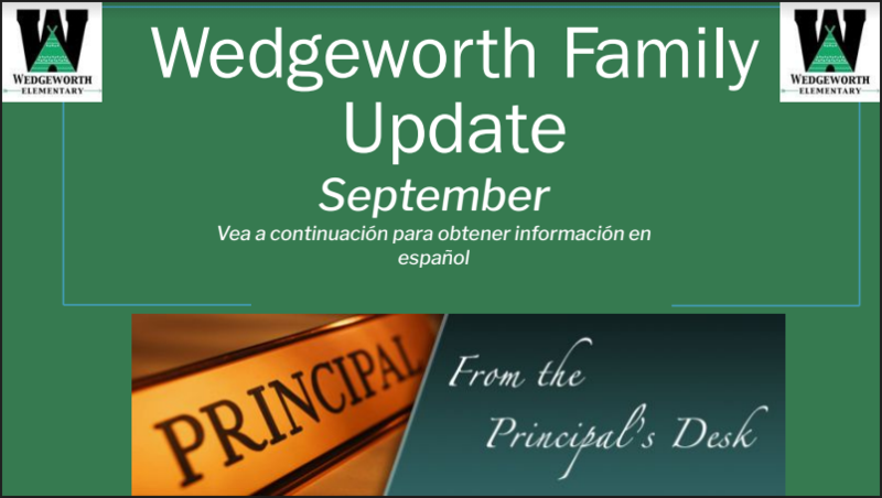 graphic reads Wedgeworth Family Update September from the Principal's Desk
