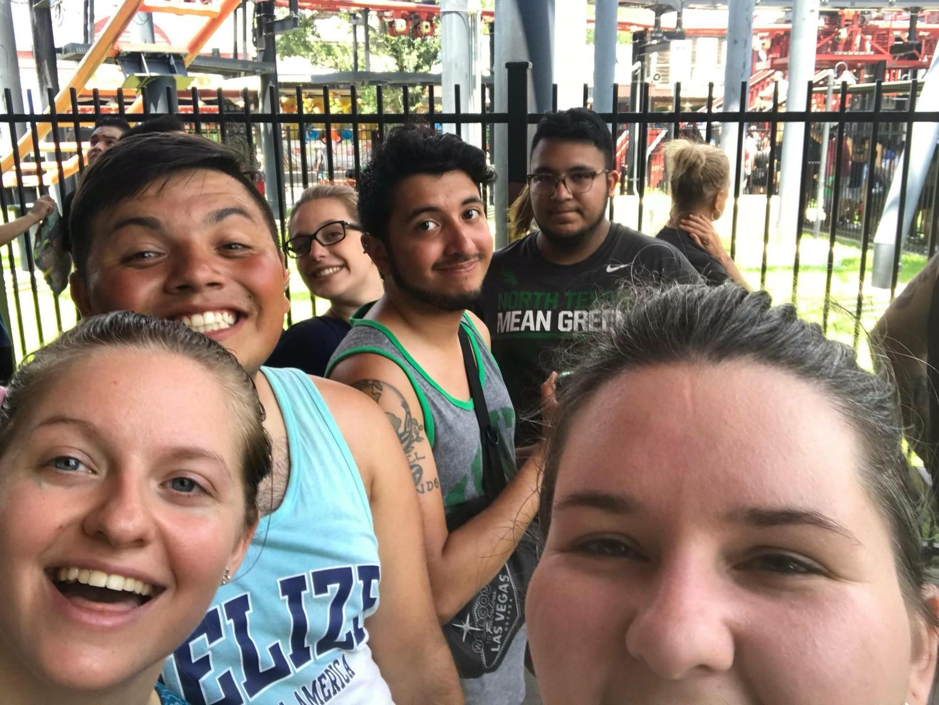 Ms. Butler with her best friends, Mary, Danny, Julio, Jonathon, and Alysa at Six Flags in June 2018