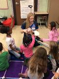 Students learn about dental hygine
