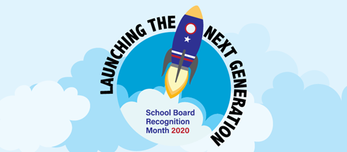 School Board Recognition Month 2020 logo of rocket in the sky