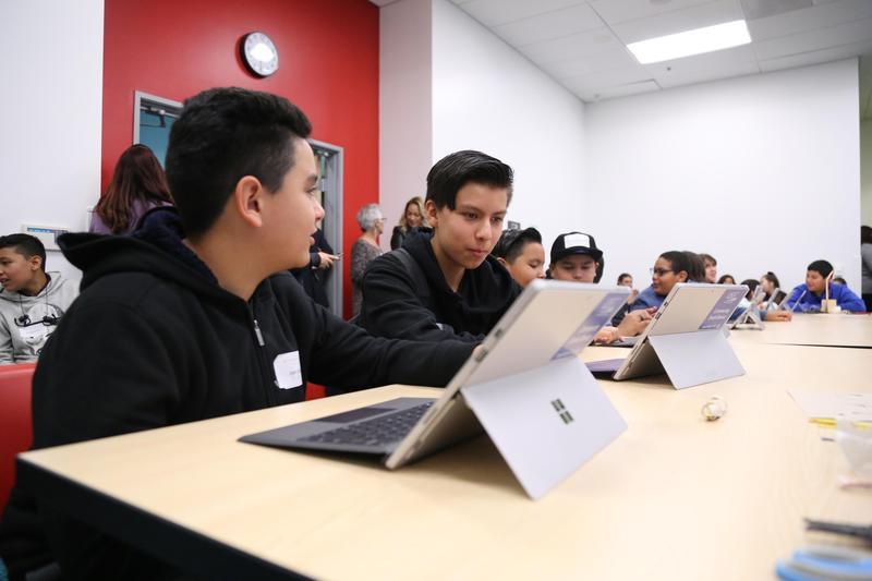 Students engaging at Microsoft DigiCamp