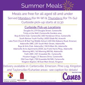 Summer meal program information