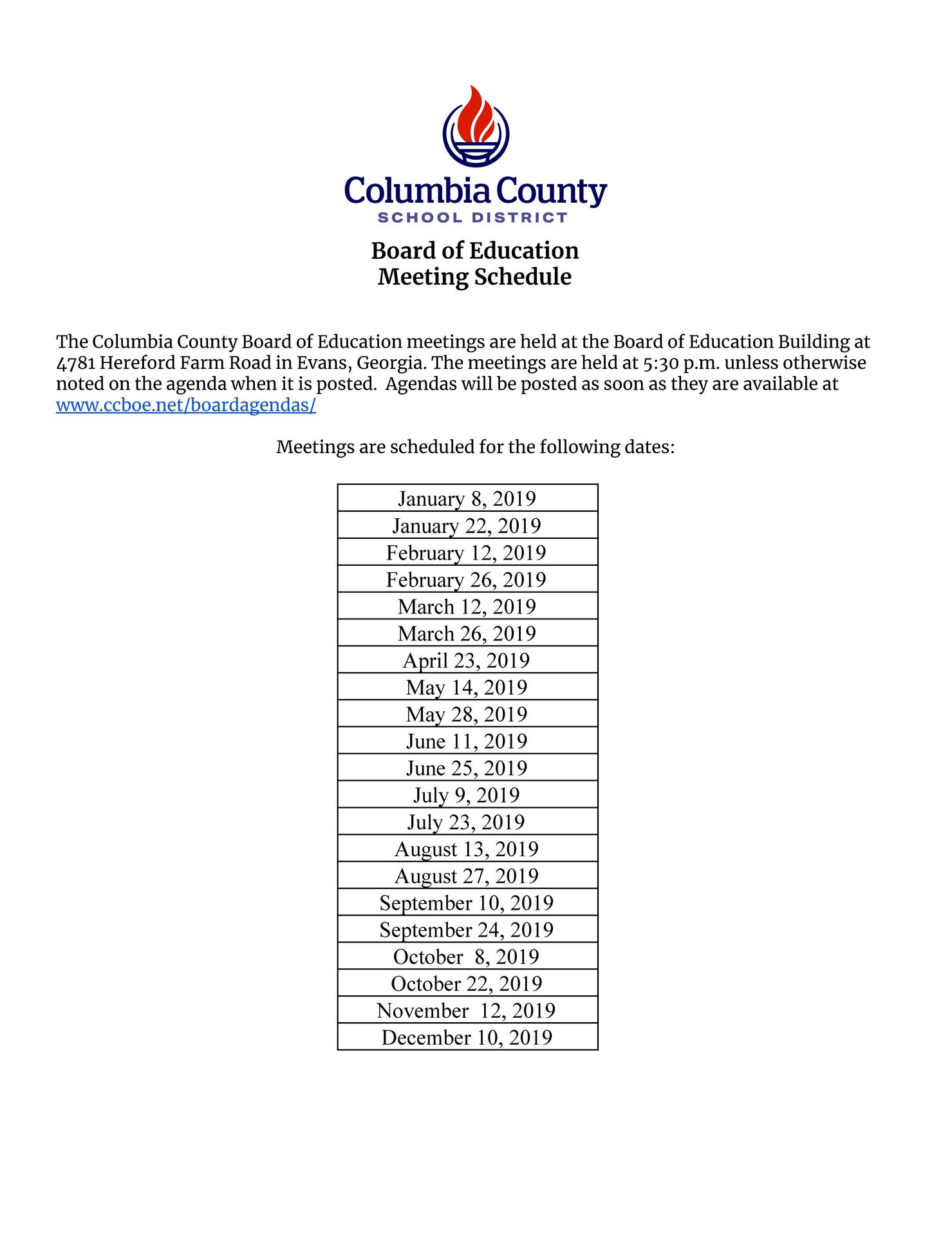 BOE meeting schedule list