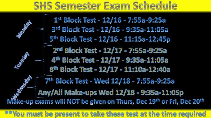 SHS Semester Exam Schedule