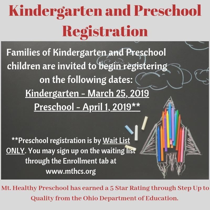 start dates for kindergarten and preschool registration