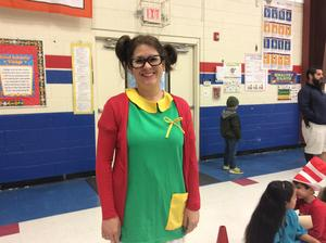 teacher in costume.