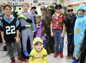 Photo of students dressed up for Halloween fun at Washington School.