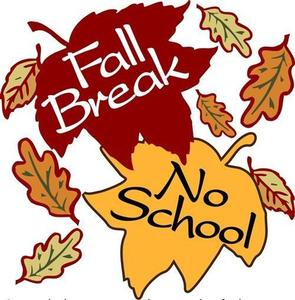 picture of two leaves with the word fall break on them