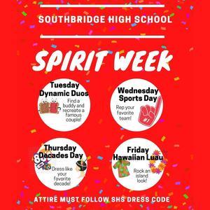 Flyer for Spirit Days at Southbridge High School
