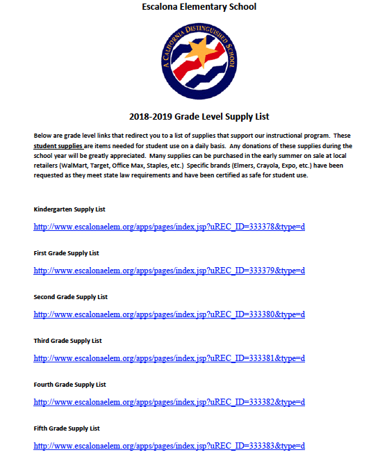 2018-2019 Grade Level Supply List Links Featured Photo