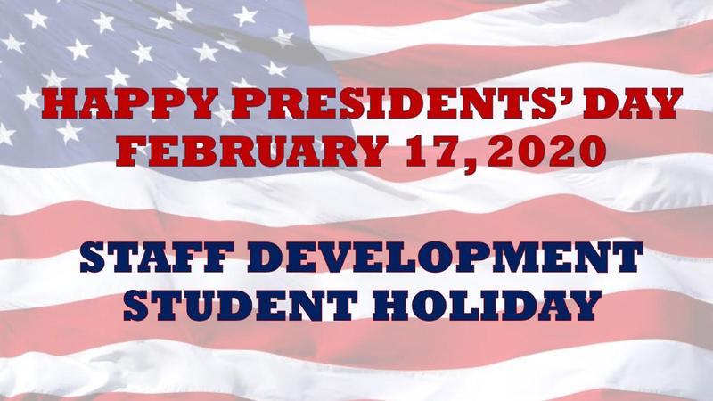 Staff Development-Student Holiday - Monday, February 17, 2020 Featured Photo