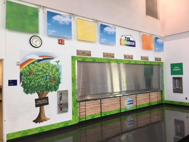 View of Sodexo wall decorations in a school lunchroom