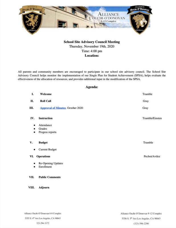 School Site Advisory Council Meeting - November 19, 2020 Thumbnail Image