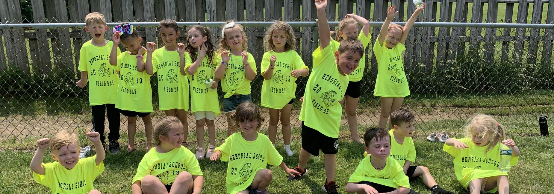 preschoolers celebrating Field Day