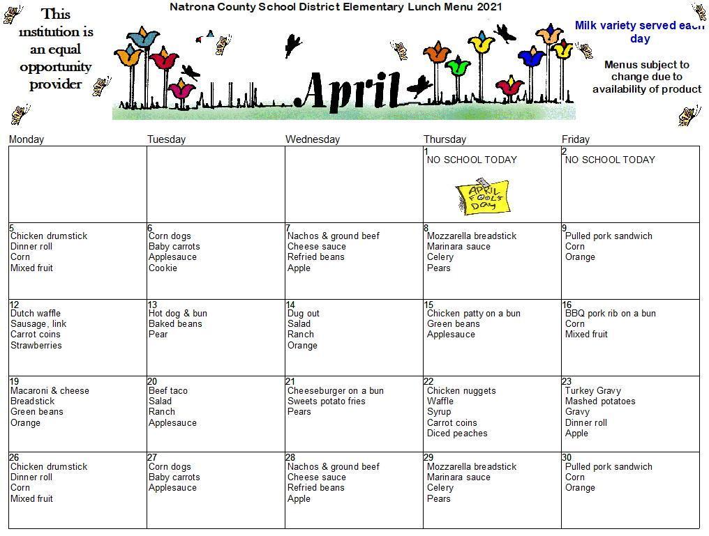 April Elementary Lunch Menu