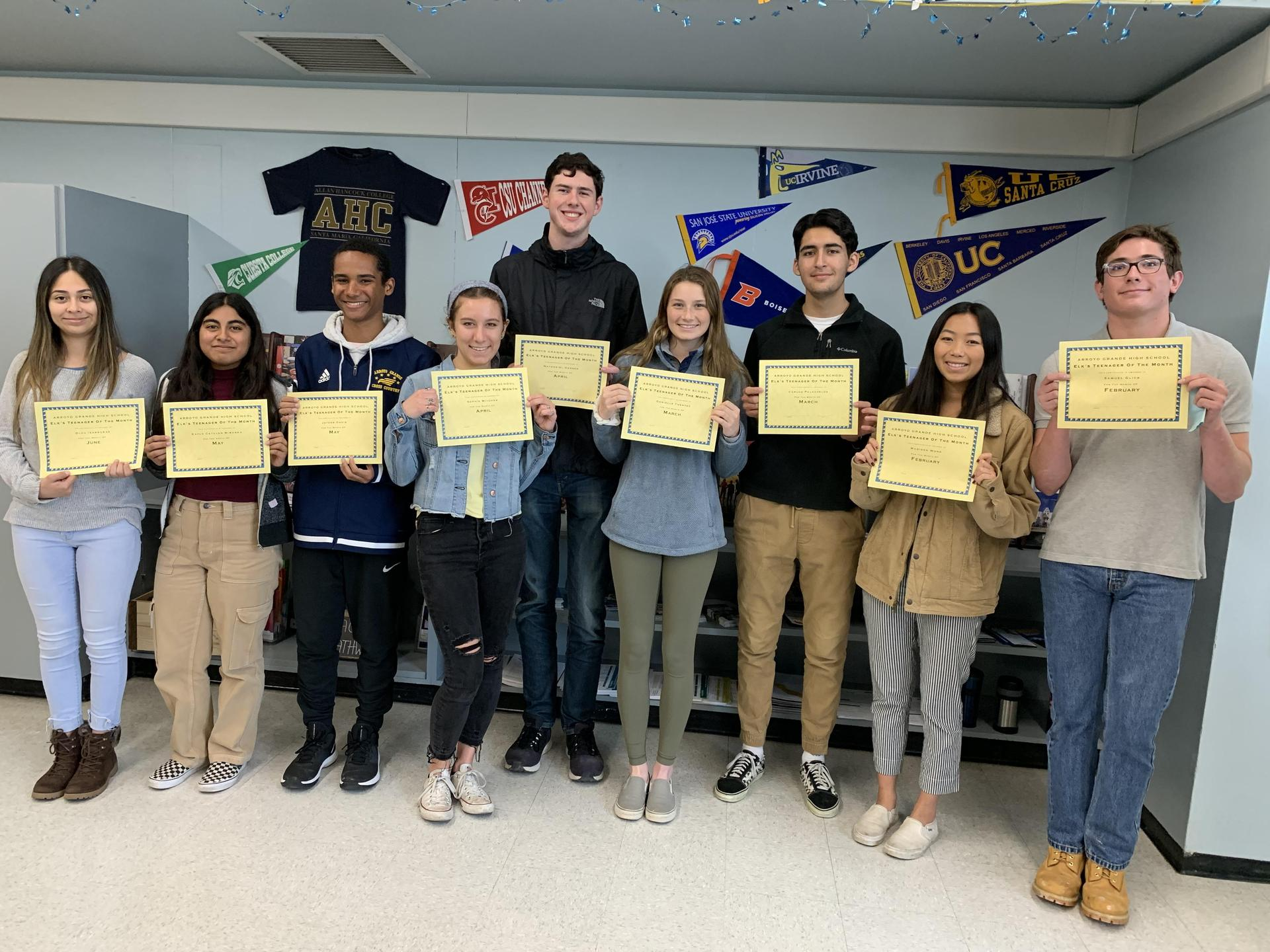 Elks Teenagers of the Month 2019-2020