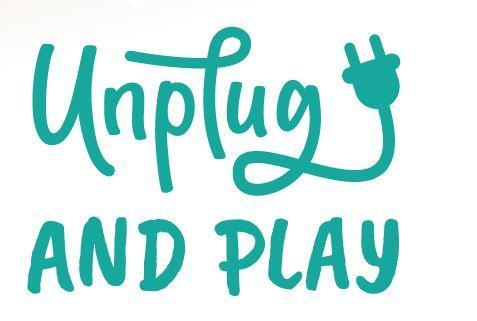 The words Unplug and PLay in playful font and teal colored.