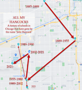 Map of the previous Hancock school locations throughout CPS history