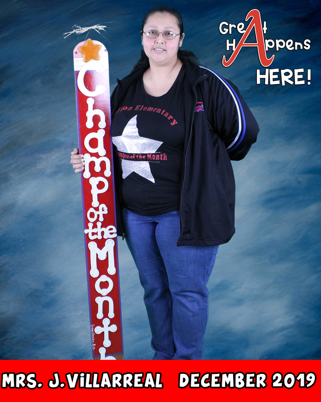 Congratulations to Mrs. J. Villarreal for being our champion of the month for December. Featured Photo