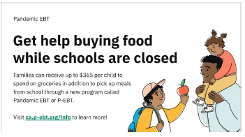 Financial Benefits for families who qualify for Free and Reduced Lunch through NEW California P-EBT program Featured Photo