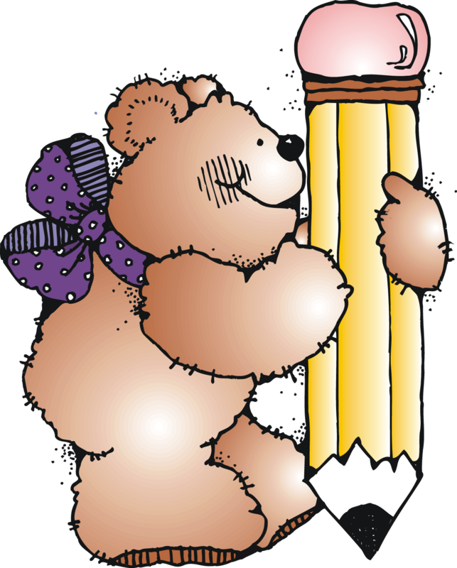 Clipart image of a teddy bear holding a pencil.