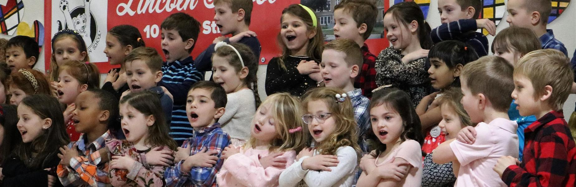 Photo of Lincoln kindergartners singing during National Grandparents Day.