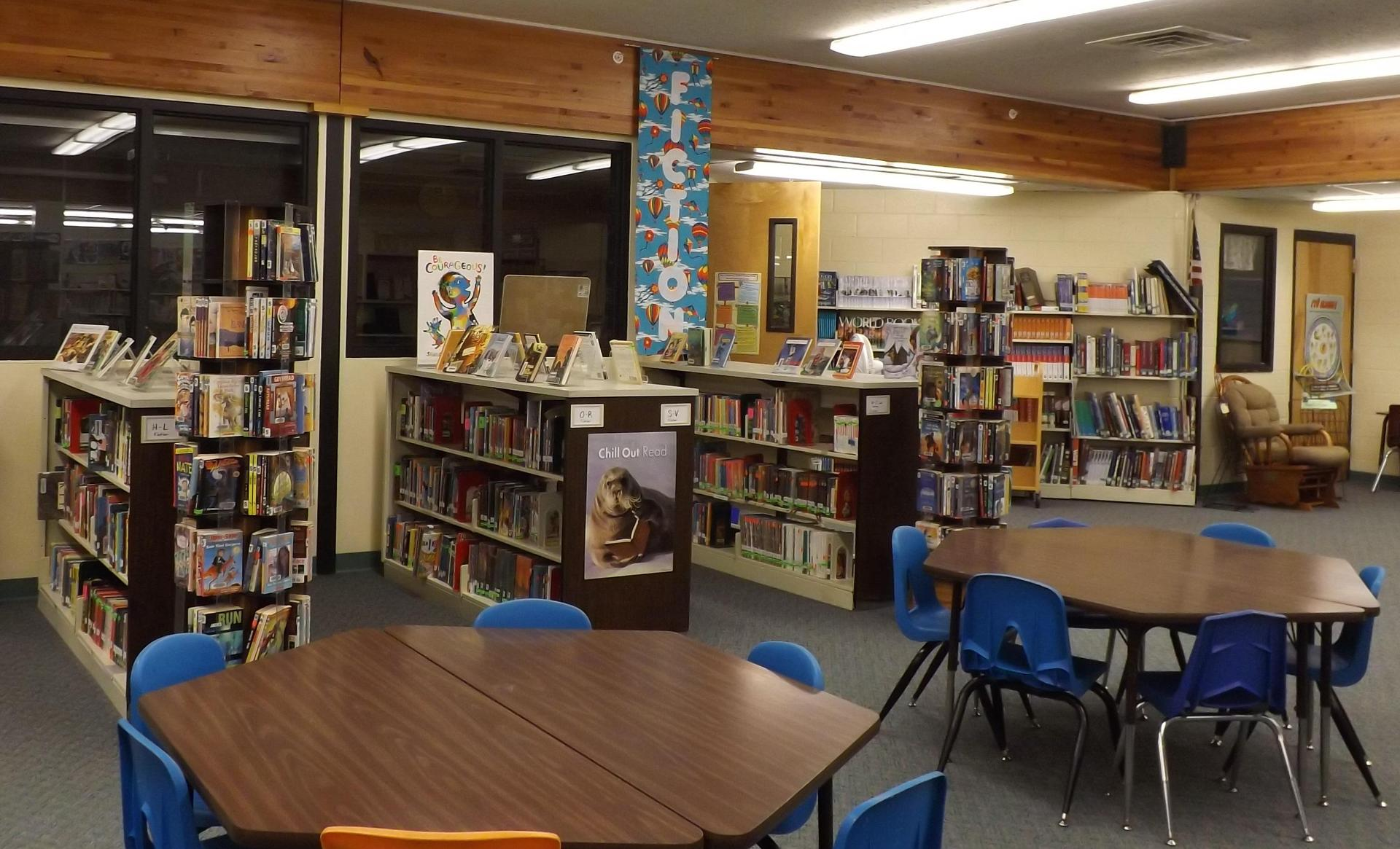 This is a view of the fiction section in the library.