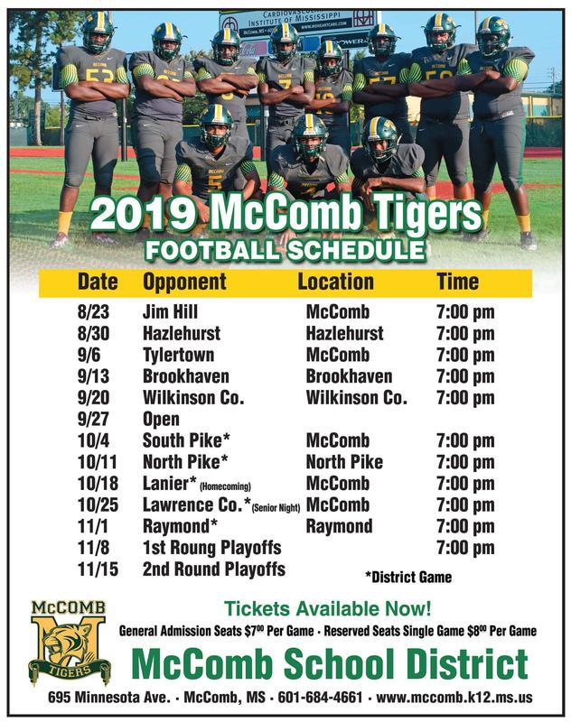 McComb High School Football Seniors and 2019 Schedule