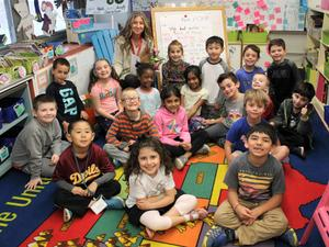 Mary Montes, a first grade teacher at Tamaques Elementary School in Westfield, is the 2018 recipient of the Westfield Rotary Club's Philhower Fellowship in recognition of outstanding teaching at the elementary school level. Montes is pictured here with her 1st grade class.