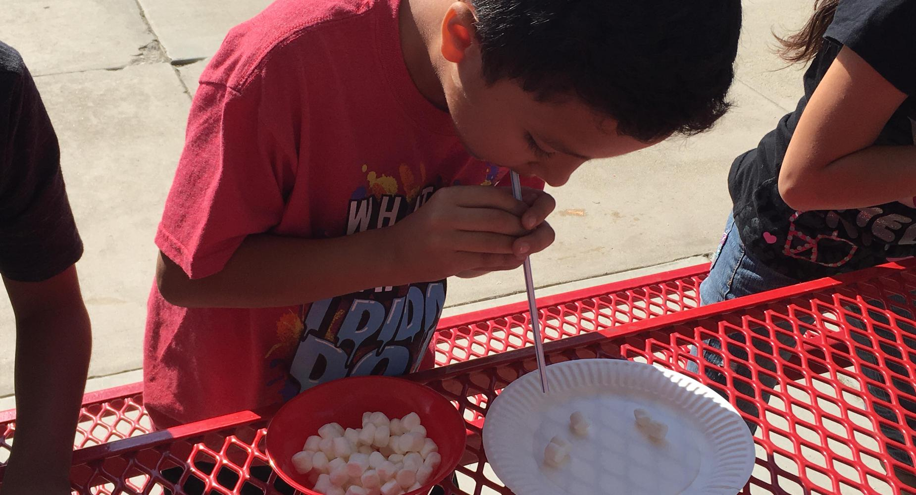 Marshmallow pick-up contest.