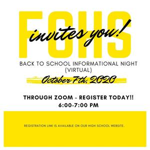 FGHS Back to School night flyer