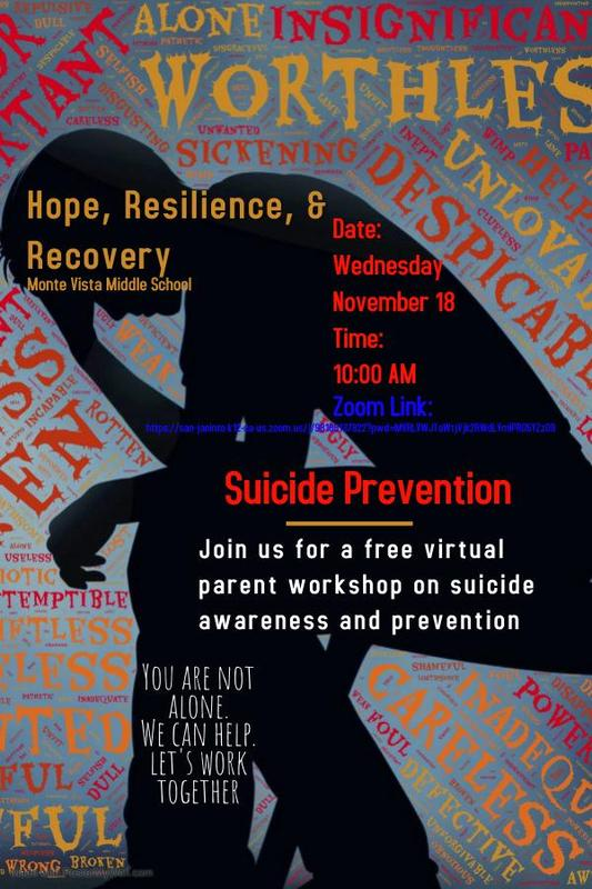 Free virtual suicide prevention parent workshop nov.18@10:00 am