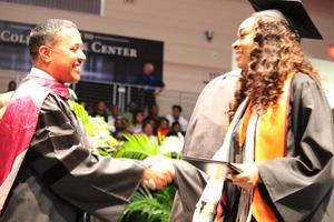Superintendent Granger greets Valedictorian
