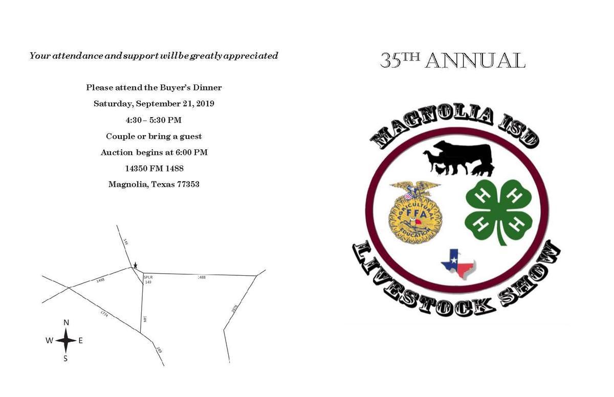 2019 Magnolia ISD FFA Livestock Show Invitation and Schedule