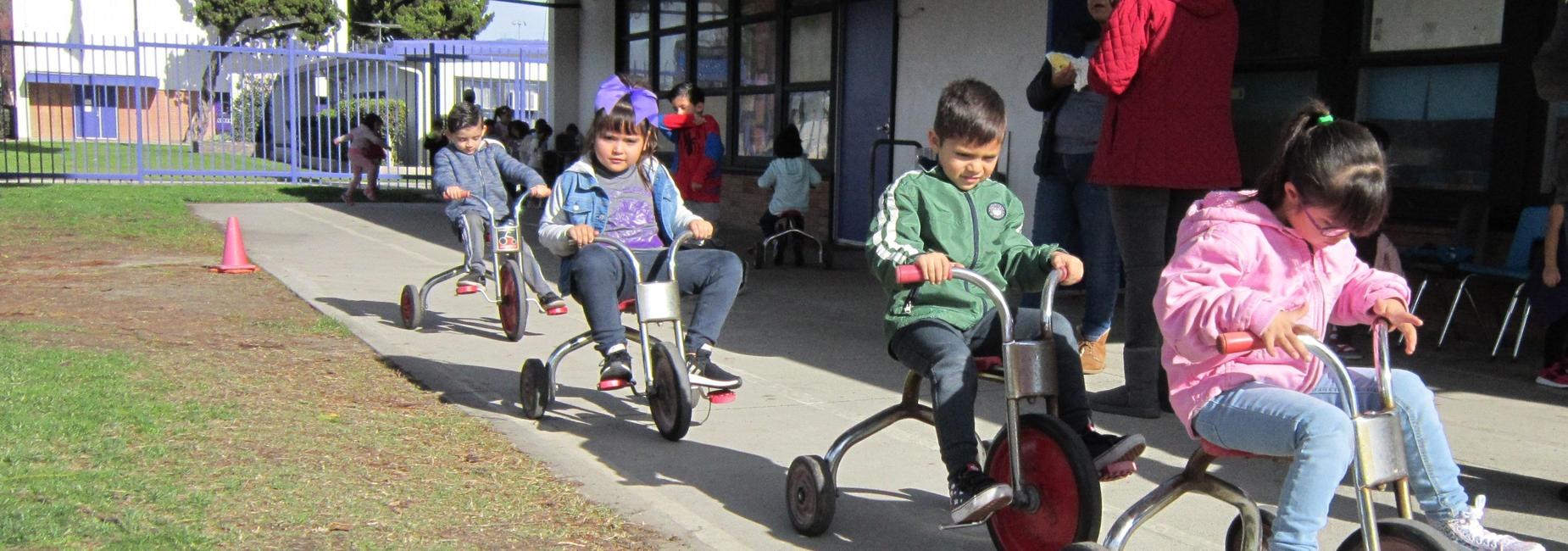 Students riding tricycles at recess.