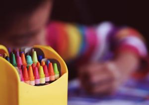Closeup of child and colors