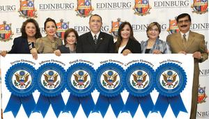 Edinburg CISD earns six National Blue Ribbon School recognitions. Pictured L-R: ECISD Bilingual/ESL Director Cynthia Saenz (former principal at Trevino Elementary School), Jefferson Elementary School Principal Ana H. Salinas, Hargill Elementary School Principal Modesta Segundo, ECISD Superintendent Dr. René Gutiérrez, Magee Elementary School Principal Marla Cavazos, ECISD Assistant Superintendent for Curriculum & Instruction Dahlia Z. Guzman (former principal at Canterbury Elementary School) and Austin Elementary School Principal Homero Cano.
