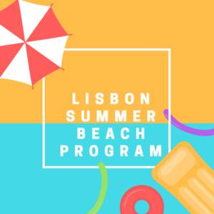 Lisbon Summer Beach Program with image of umbrella and pool float and pool noodles
