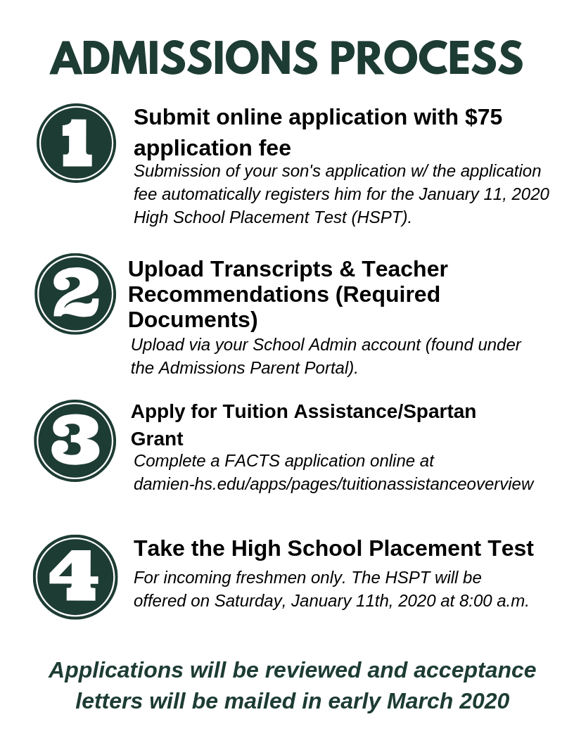 Application Process - Educational Support - Damien High School