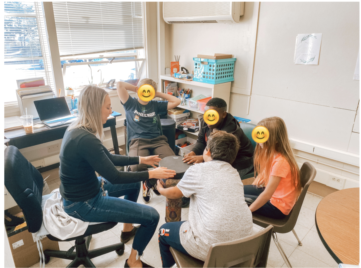 Meghan in class with students