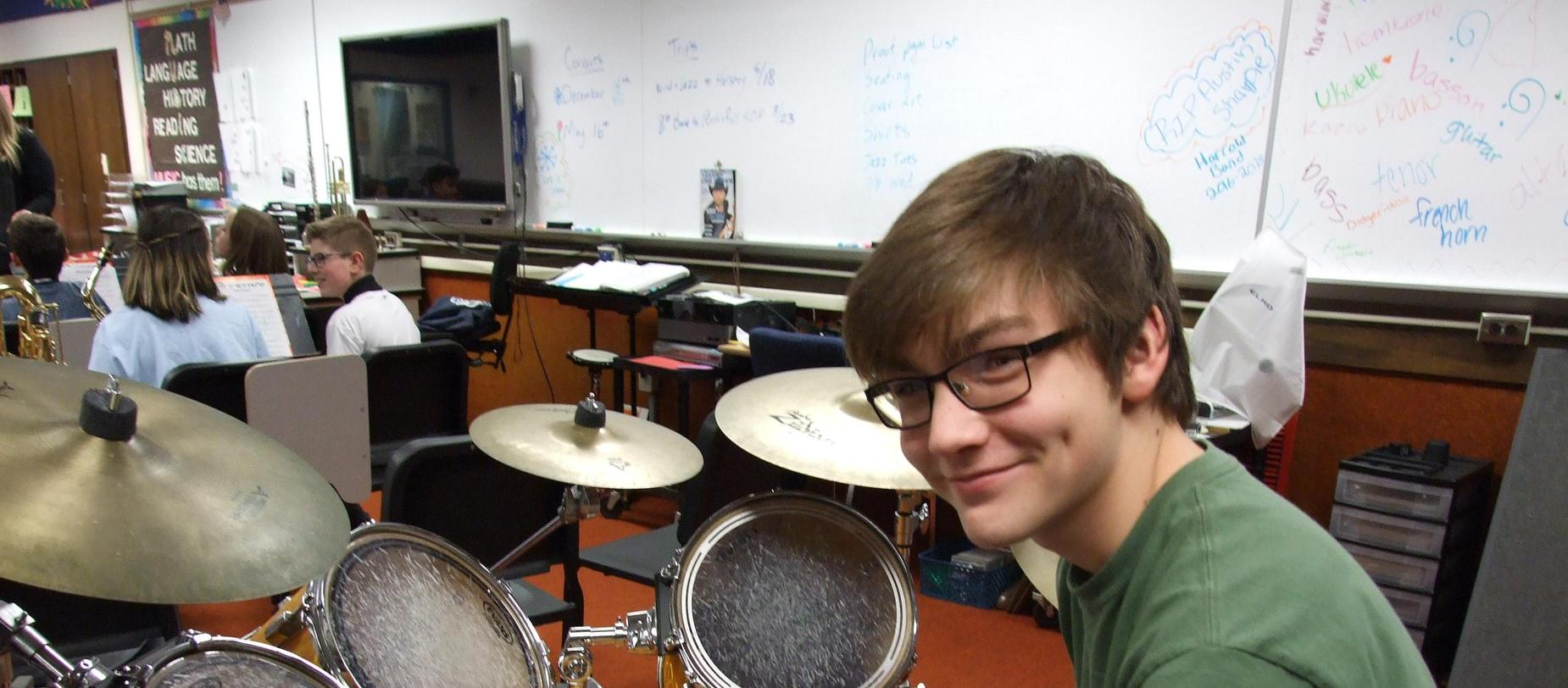 Band Student Playing Drums