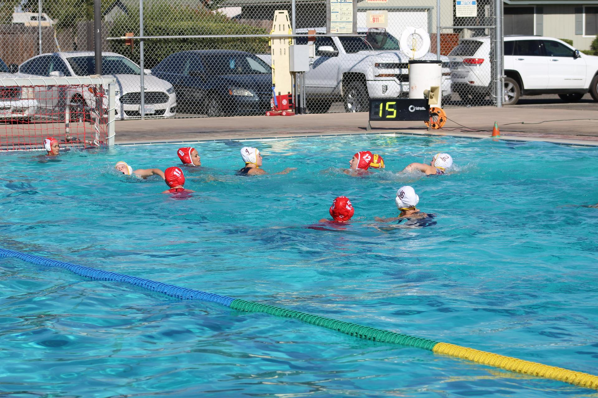 Girls playing water polo vs Sierra