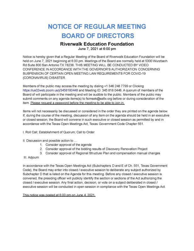 Board Meeting Agenda - June 7 Featured Photo
